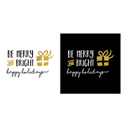 gold glitter merry christmas quote greeting card vector image