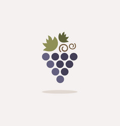 Grapes icon with shadow on a beige background vector