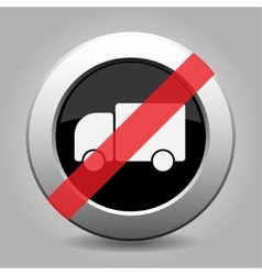 Gray chrome button - no lorry car vector
