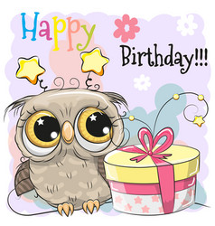 Greeting birthday card cute owl with gift vector