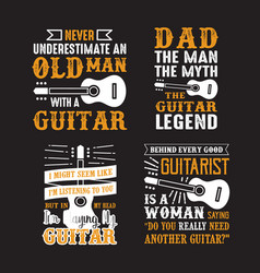 guitar quote and saying set of guitar quote vector image