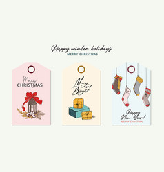hand-drawn cartoon winter holidays greeting card vector image