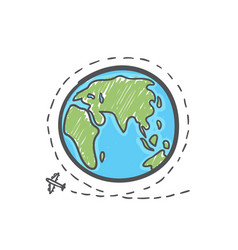 Hand drawn plane travel around world vector