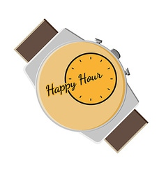 happy hour background with watch vector image