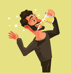 Happy man character drinks beer vector