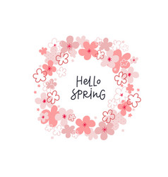 hello spring wreath lettering flowers vector image