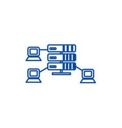 Hostingnetwork servers line icon concept hosting vector