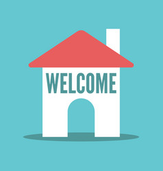 house with welcome text vector image