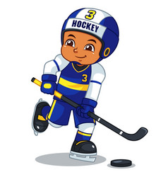 Ice hokey player boy ready to shoot vector