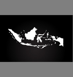 Indonesia black and white country border map logo vector