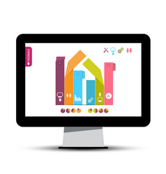 Infographics graph on computer screen infographic vector