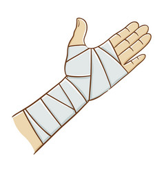 Injured hand wrapped in elastic bandage vector
