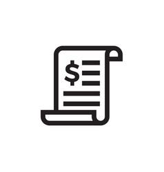 Invoice or dollar bill document line icon vector
