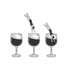 man dives into glass wine set sketch vector image