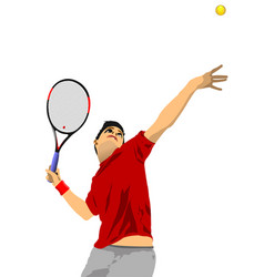 Man tennis player colored vector