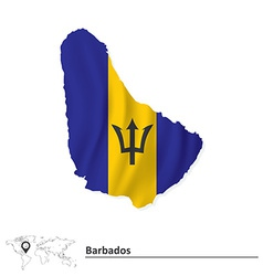 Map of Barbados with flag vector image