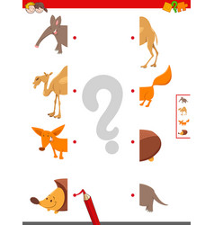 Match halves of animal pictures educational game vector