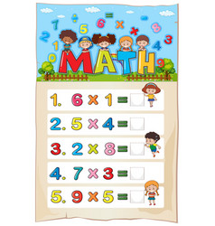 Math worksheet template with kids and vector