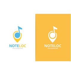 note and map pointer logo combination vector image