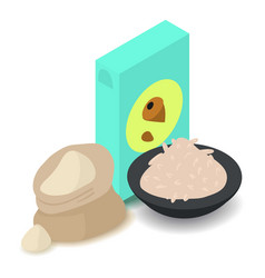 nut flour icon cartoon isometric 3d style vector image