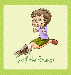 Old saying spill beans vector