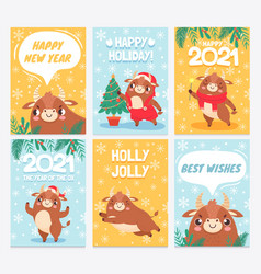ox 2021 happy chinese new year greeting cards vector image