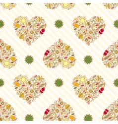 Pattern with Floral Hearts vector image