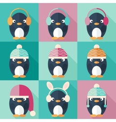 Penguins icons set in flat design vector image