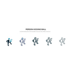 Person kicking ball with knee icon in vector