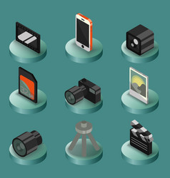 photo color isometric icons vector image