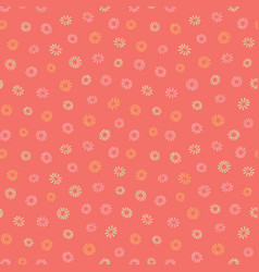 pink and yellow flowers on coral background vector image