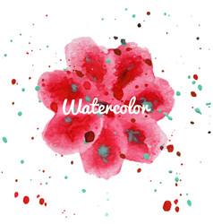 pink flower splash watercolor hand drawn vector image