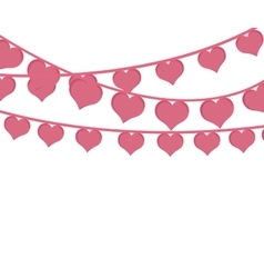 Pink hearts love garlands festive romantic vector