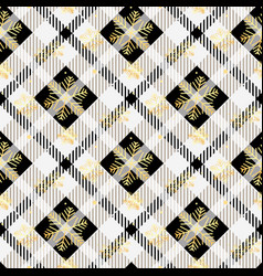 Plaid checkered tartan and golden snowflake vector