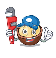 Plumber macadamia mascot cartoon style vector