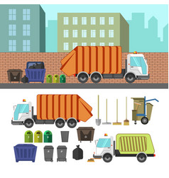 process taking garbage with rubbish truck vector image