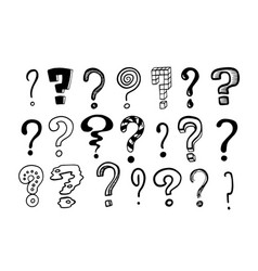 question marks doodle hand drawn isolated set of vector image