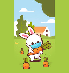 rabbit holding carrot wearing face mask to prevent vector image