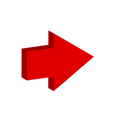 Red arrow icon on white background direction vector
