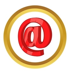 Red email sign icon vector