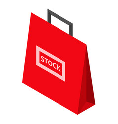 red stock bag sale icon isometric style vector image