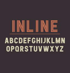 Retro inline bold font design alphabet typeface vector
