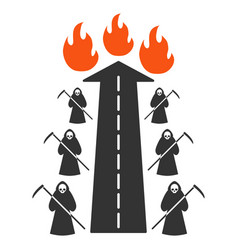 Road to hell fire flat icon vector