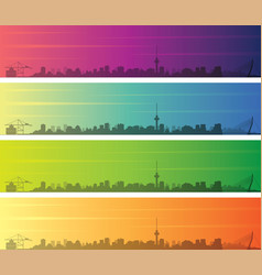 Rotterdam multiple color gradient skyline banner vector