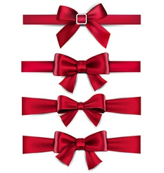 Satin red ribbons Gift bows vector image