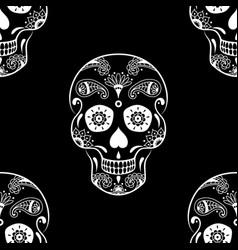 Seamless pattern of white sugar skull vector