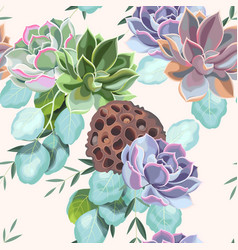 Seamless pattern with a succulents vector