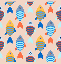 Seamless pattern with school of fish bright vector