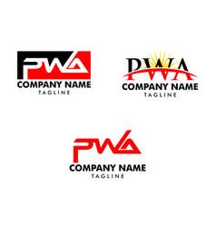 set initial letter pwa logo template design vector image