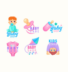 Set kids store and baby shop cartoon icons vector